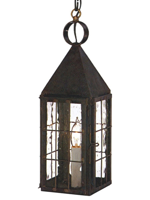 Hanging copper lanterns pendant style indoor and outdoor for Outdoor colonial lighting