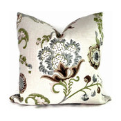 Kravet Green And Grays Jacobean Floral Pillow Cover By PopOColor