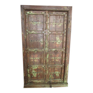 Mogul Interior - Mogul Historical Doors Hand Carved Door & Frame - The door comes from India and are a 18/19 century vintage pieces.