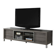 """Monarch Specialties - Dark Taupe Reclaimed-Look 70""""L Euro Tv Console - Create a European look to ..."""