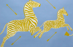 Zebras Hand-printed Wallpaper, Periwinkle