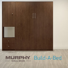The Montana Walnut wall-bed creates a mid-century inspired smart space