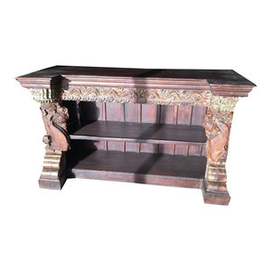 Mogul Interior - Antique Corbels Rustic Bookshelf - The new bookshelf comes from India and are made from a 18/19 century vintage pieces.