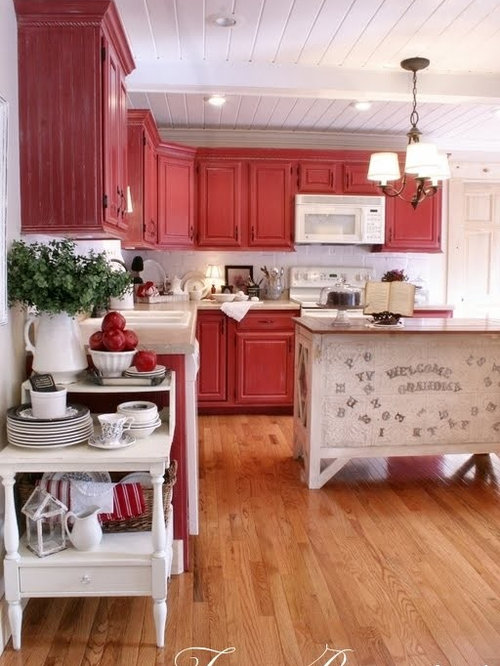 ... Kitchen Design Ideas & Remodel Pictures with Red Cabinets | Houzz