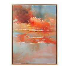 Imax Messer Oil On Canvas With Frame Coral Tones