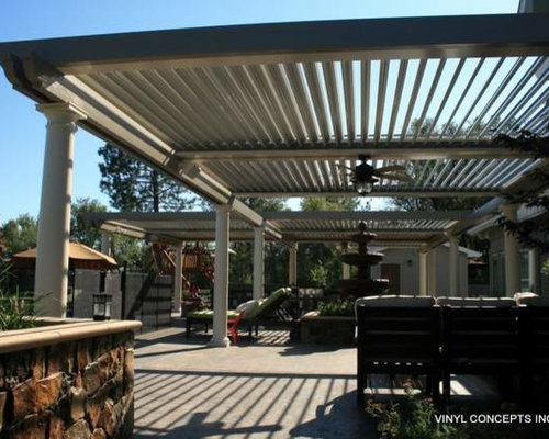 Adjustable louver motorized patio cover
