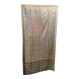 Mogulinterior - Indian Panels Print Sari Drapes, Plum Beige - poly silk