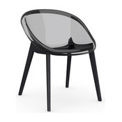 Bloom Chair, Transparent Smoked Grey, Graphite Legs