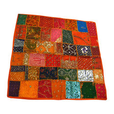 Mogul Interior - Consigned Sari Tapestry Indian Wall Hanging Orange Table Runner - Add royalty and beauty to your home with this hand embroidered, multi-toned patchwork table cloth.