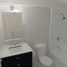 San Francisco Retro Eclectic Condo Guest Bath