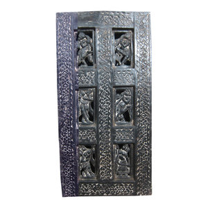 Mogul Interior - Consigned Antique Doors Dancing Lady Carved Wood Wall Panel - Add special nook in your home with Hand Carved wood dancing lady Wall Panel.