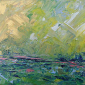 Abstract Landscape Acrylic Painting by Sally Kelly
