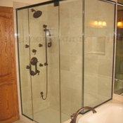 Framless Return Shower Doors with Knee Walls