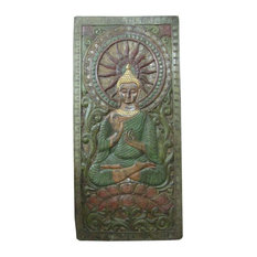 """Mogul Interior - Consigned Indian Wall Panel Buddha In Dharma Chakra Mudra Green Patina 72"""" X 36"""" - The Buddha seated on double lotus base hand carved colorful wall panel from India."""