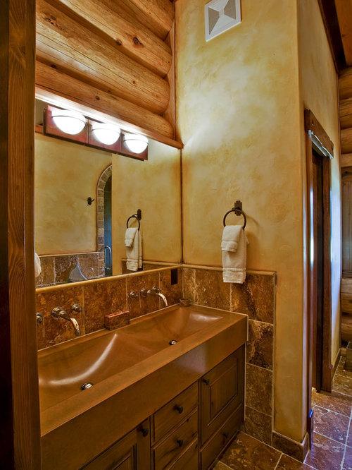 Rustikale Badezimmer Fotos : Sink trough rustikale badezimmer ideen für die badgestaltung