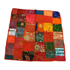 Mogul Intererior - Table Cloth Red Embroidered Sari Tapestry - Sari tapestries are handmade from vintage embroidered saris and Zardozi patches and are beautifully exotic creations.