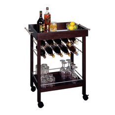 Winsome Keving  Bottle Wine Cart With Mirror Top Espresso Bar