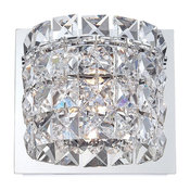 Rondell 1 Light Vanity, Chrome And Clear Crystal Glass