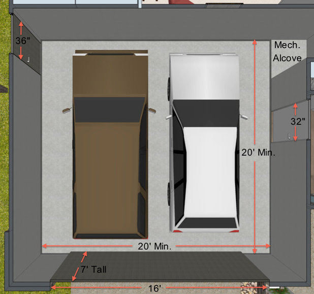 Key measurements for the perfect garage for Width of two car garage