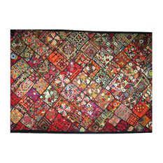 Mogul Interior - Consigned Banjara Wall Hanging Tapestry Throw Kutch Embroidery - This is a really unique Incredible Banjara Patchwork, Vintage Indian embroideries, mirror work, stitch work, Banjara work and other various tribal hand works.