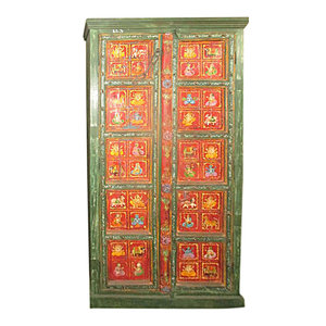 Mogul Inteior - Ganesha cabinet Antique Reclaimed Indian Painting Jodhpur Green Red Armoire - The Ganesha cabinet comes from India and is a 20th century vintage armoire brought to you by MOGULINTERIOR. Reclaimed doors in good condition, original patina and hardware