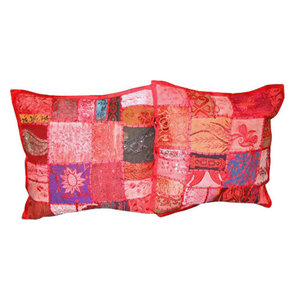 Mogul interior - Cushion Cover Embroidered Pillow Covers, Set of 2 - Add a splash of ethnic ambiance to any room with ethnic combination of gujrati embroidery and stunning vibrant colors make these a spectacular pair of pillow shams.