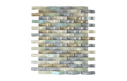 "11.5""x12"" Ripple Stream Glass Mosaic Tiles, Set of 6, Spring Melt Gray"
