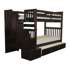Cappuccino Trundle Tall Twin Over Twin Stairway Bunk Bed