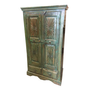Mogulinterior - Consigned Indian Wood Cabinet Green Patina Armoire Rustic Storag - Rich with culture the cabinet doors belong to the British raj as well as imbibes the rustic charm from old India.The carving on the cabinet door are door from the tradition of vastu culture which is the Indian art of the interior design . This amazing furniture is made of reclaimed shutters and antique elements from Jodhpur, Rajasthan, India!