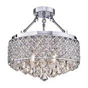"""Viola Finish Crystal 15"""" Semi Flush Lamp, Chrome"""
