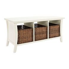 Shop Storage Bench With Wicker Basket Products On Houzz