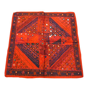 "Mogul Interior - Consigned Vintage Style Sari Wall Patchwork Red Tapestry India Art 40"" X 40"" - Add royalty and beauty to your home with this hand embroidered, multi-toned patchwork table cloth."