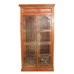 Mogul Interior - Consigned Antique Curio Cabinet India Ganesha Teak Rustic Armoire Hand Carved - The cabinet comes from India and is a 18th century vintage piece.