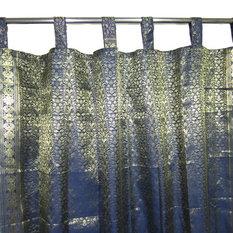 Mogulinterior - 2 Indian Silk Sari Curtains Dark Blue Golden Brocade Saree Drapes Indi Decor - Brocade Silk blend curtains actually gives a great impact to get the luxurious look of a room design.