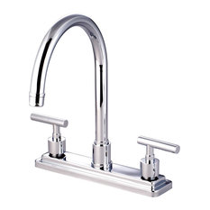 kingston brass manhattan double handle 8 kitchen faucet polished chrome kitchen faucets avant garde faucet