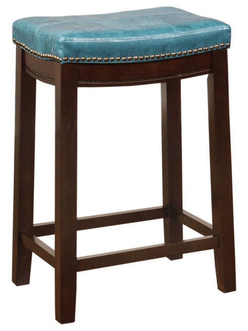Linon - Claridge Counter Stool, Blue - The Claridge Blue Counter Stool ...
