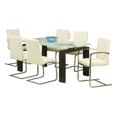 pastel furniture pastel skyline 7 piece white glass dining room set