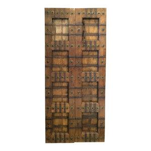 Mogul Interior - Consigned Antique Doors Brass Stars Indian Panels Carved Teak Rustic Architectur - Beautiful 1950s retro & unique antique Classic Doors from India