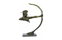 Bronze Indian Warrior With Bow And Arrow, Statue