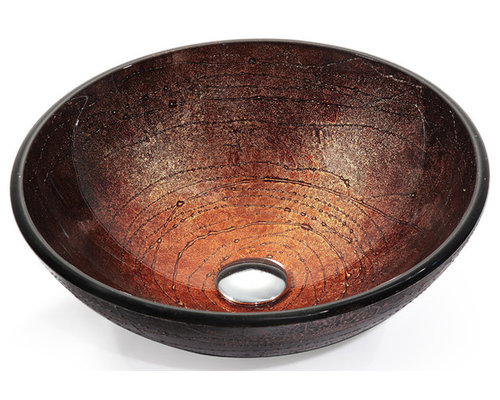 Franke Kitchen Sink Accessories : Kraus - Kraus Copper Illusion Glass Vessel Sink - Add a touch of color ...