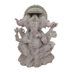 Mogul Interior - Consigned Trimukha Ganesha Sitting On Lotus Base Stone Statue - Decorative Objects And Figurines