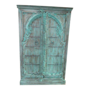 Mogul Interior - Consigned Jodhpur Distressed Teal Patina Mehrab Arch Doors Storage Armoire India - The NEW cabinet comes from India and has 19 century vintage doors, the sides are built from reclaimed woods.