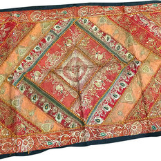 Mogul interior - Consigned Indian Inspired Tapestry Throw Red Orange Sequin - Sari tapestries are handmade from embroidered saris and Zardozi patches and are beautifully exotic creations.