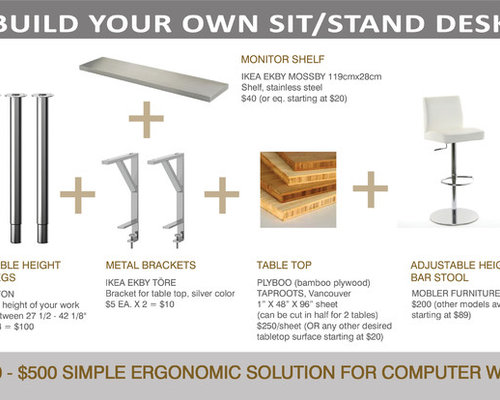 Build your Own SitStand Desk from Simple IKEA parts and  : 90c1b36f036426ed2497 w500 h400 b0 p0 modern office carts and stands from www.houzz.com size 500 x 400 jpeg 31kB