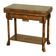 antiques - Consigned Vintage Mother of Pearl Inlaid Chess Backgammon Game Table - Vintage game table