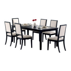 Adarn Inc - Lexton 7-Piece Dining Set, Black Table With Square Legs, 6