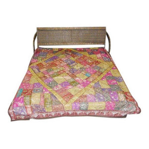 Mogul Interior - Mogulinterior Bedspread Tapestry Throw Mirrors and All-over Embroidery Bedding - Multicolor sparkling and mirror work Embroidered Sequin motifs cotton bedspread