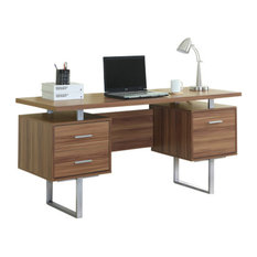 walnut hollow core silver metal 60 l office desk desks and hutches