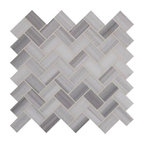 Greyish White Herringbone Pattern Honed Marble Mesh