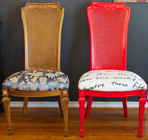 Painted Dining Room Chairs: Dining Set Makeover: Paint And Tea-Tinted Fabric Make Old